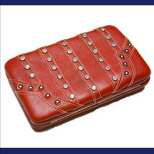 Handbags - Brown Genuine Wallet With  Rhinestone